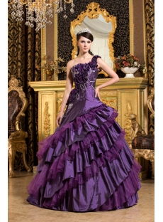 Purple One Shoulder Vestidos de Quinceanera 2011 with Flowers