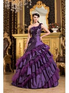 Purple One Shoulder Vestidos de Quinceanera 2011 with Flowers