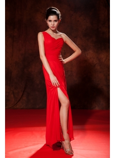 Red Chiffon Long Homecoming Dress with Slit