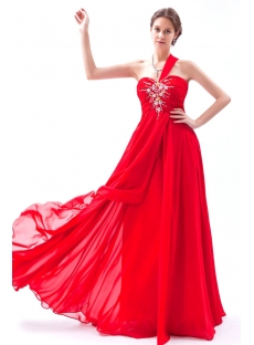 Red Chiffon Long Plus Size Prom Dresses 2014