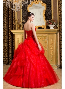 Red Romantic Best Quinceanera Dress with Ruffles