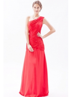 Red Romantic Chiffon Sheath One Shoulder Evening Dress Cheap