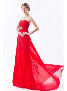 Red Romantic Long Chiffon Empire Prom Dress for Plus Size
