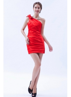Red Satin Terrific Sheath One-Shoulder Mini Cocktail Gowns