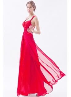 Red Sexy Chiffon Ankle Length Backless Evening Dress