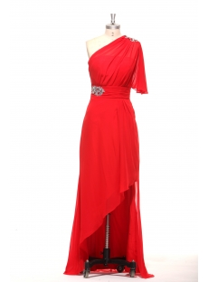 Red Strapless Ruffled One Shoulder Asymmetrical High Low Dress