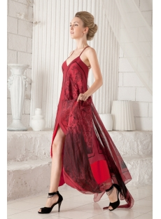 Red Straps Open Back Formal Evening Dress