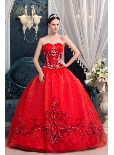 Red and Black Embroidery Popular Best Quinceanera Dress