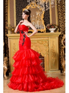 Red and Black Pretty Fishtail Bridal Gowns