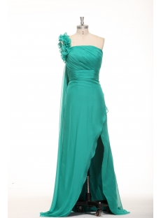 Romantic Green One Shoulder Plus Size Prom Dresses with Slit Front