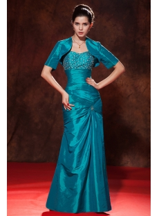 Romantic Peacock Sheath Long Taffeta Mother of Groom Dress with Jacket