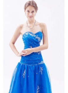 Royal Blue Masquerade Ball Gown with Corset Back