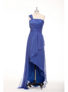 Royal Blue One Shoulder Irregular Cut Plus Size Maxi Dress