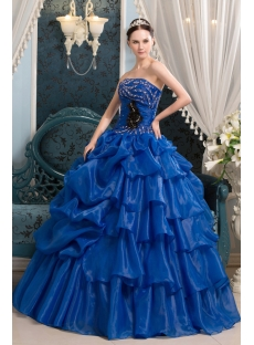 Royal Blue Spring Quinceanera Ball Dress in 2013