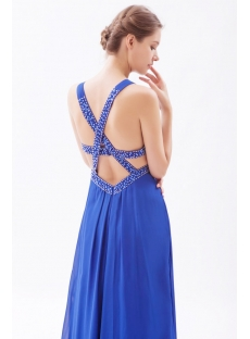 Royal Chiffon Open Back Beach Prom Dress 2011