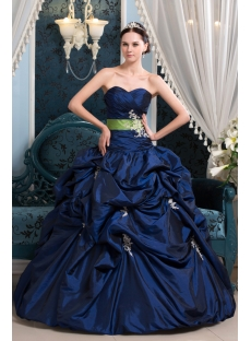 Royal Taffeta Pretty Quinceanera Dress with Green Band
