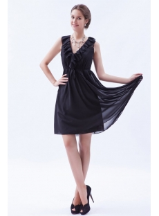 Ruffled Chiffon Little Black Dresses for Plus Size Women