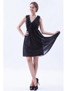 Ruffled Chiffon Little Black Dresses for Plus Size Women