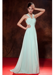 Sage Chiffon Long 2013 Prom Dress with Straps