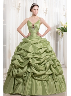 Sage Spaghetti Straps Taffeta Pretty Gown for Quince Party