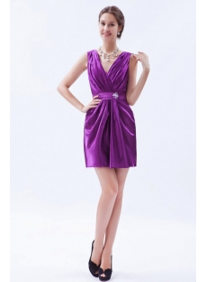 Satin Purple Mini Cocktail Dress with V-neckline