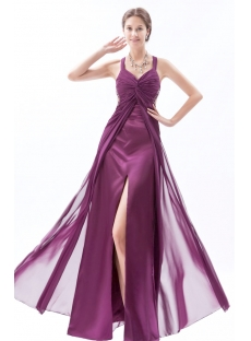 Sexy Dark Purple Maternity Prom Dresses with Crossed Straps