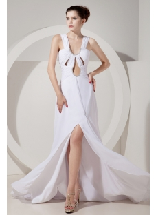 Sexy Summer Chiffon Long Beach Wedding Dress with Slit