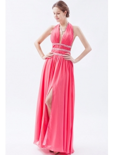 Sexy Watermelon Backless Chiffon Long Prom Dresses