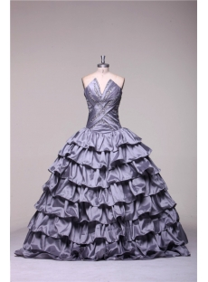 Silver 2013 Plus Size Quinceanera Gown