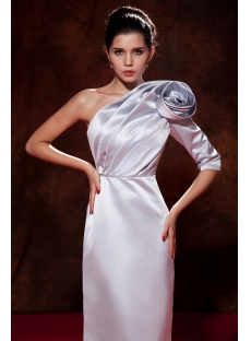 Silver One Shoulder Formal Evening Dress with Middle Length Sleeves