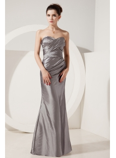 Silver Sheath Cheap Evening Dress with Corset