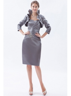 Silver Sheath Sweetheart Knee-Length Satin Mother of the Bride Dress with Jacket
