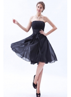 Simple Knee Length Chiffon Little Black Dress for Bridesmaid