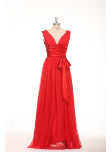Simple Red Formal Evening Dresses with V-neckline