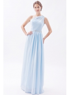 Simple Sky Blue Long Chiffon Plus Size Evening Dress