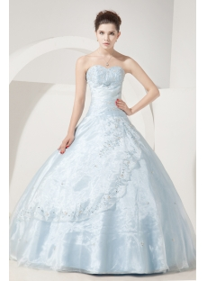 Sky Blue Embroidery Pretty 2012 Quinceanera Dresses