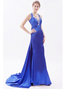 Slit Royal Blue 2014 Prom Dresses with Crossed Straps