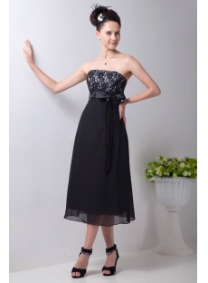 Strapless Lace Tea Length Little Black Dress