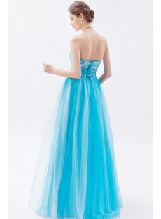 Strapless Long Aqua Blue Quinceanera Dresses 2013