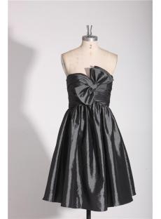 Strapless Short Dark Gray Beach Bridesmaid Dresses