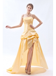 Strapless Yellow High-low Hem Short Quinceanera Dress