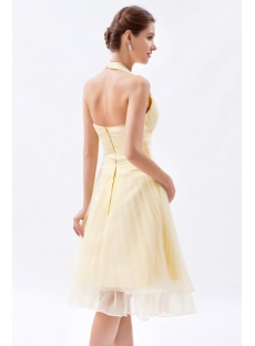 Stunning A-line Yellow Halter Pleat Bridesmaid Dress for Beach