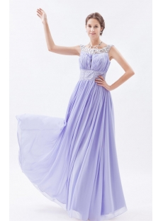 Stylish Lavender Long Scoop 2014 Spring Prom Dress