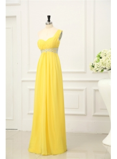 Sunflower Chiffon Evening Dress with One Shoulder