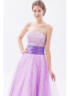Sweetheart Long Lilac Beaded 15 Quinceanera Dresses