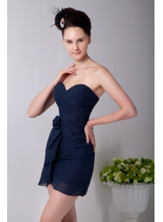 Sweetheart Navy Blue Mini Chiffon Homecoming Dress