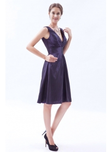 Taffeta Purple Short Homecoming Dress with V Back