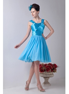 Tank Straps Aqua Short Prom Dress for Junior