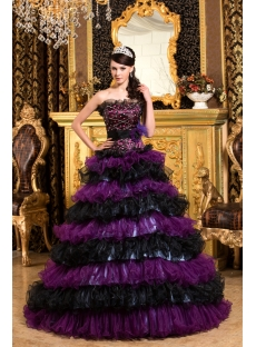 Tasteful Black and Purple Puffy Colorful Quinceanera Gown