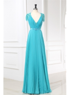 Teal Blue Illusion Back Modest Evening Dresses